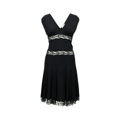 Sleeveless Jersey Dress with Lace Inserts