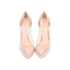 Metallic Rose Gold Plexi Pumps
