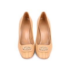 Beige Logo Pumps