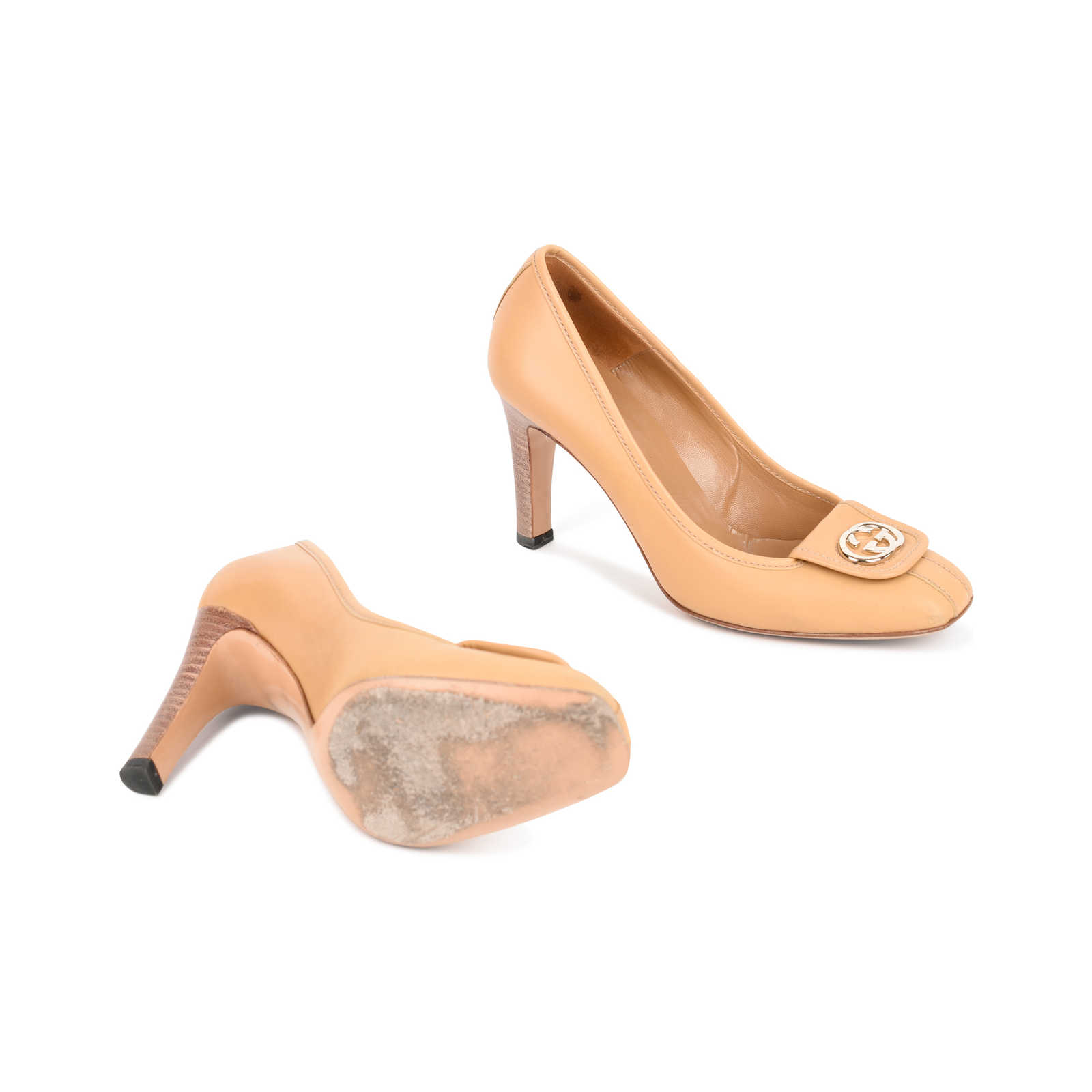 626aed3b8 ... Authentic Second Hand Gucci Beige Logo Pumps (PSS-462-00012) -  Thumbnail ...