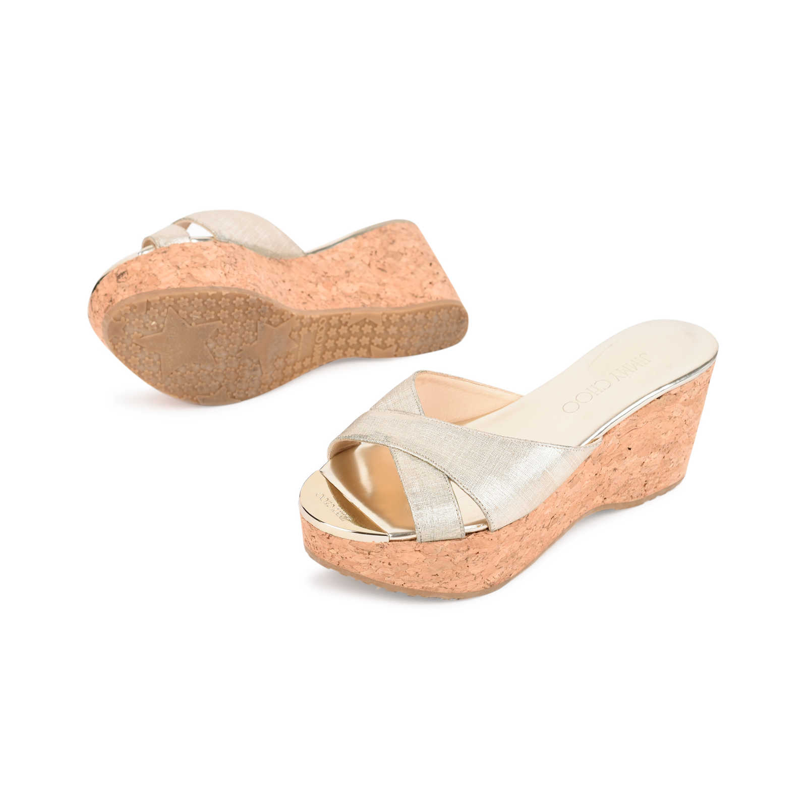 0c969c7646bd ... Authentic Second Hand Jimmy Choo Prima Wedge Sandals (PSS-462-00037) ...