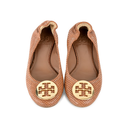 Authentic Second Hand Tory Burch Snakeskin-Embossed Logo Flats (PSS-225-00030)