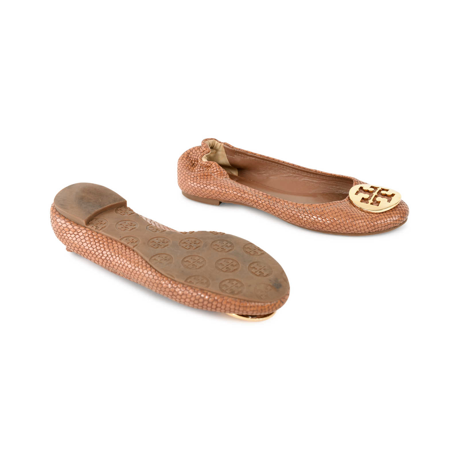 3610162eb ... Authentic Second Hand Tory Burch Snakeskin-Embossed Logo Flats  (PSS-225-00030 ...