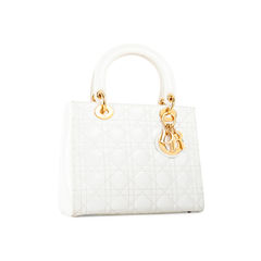 Christian dior lady dior white patent leather bag 2?1522915672