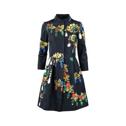Authentic Pre Owned Oscar de la Renta Jewelled Printed Dress (PSS-458-00025)