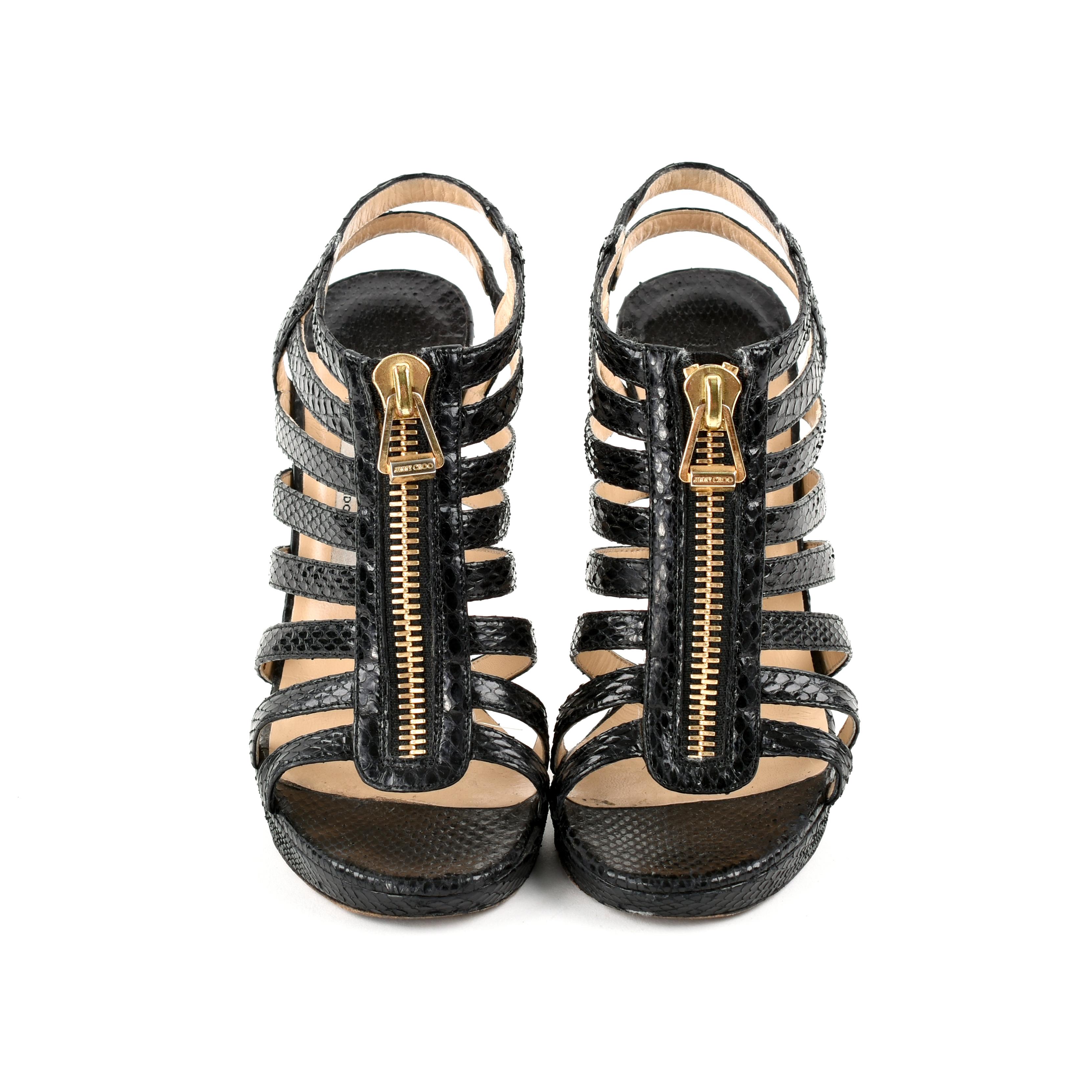 Second hand jimmy choo glenys snakeskin sandals black for 2nd hand beauty salon equipment