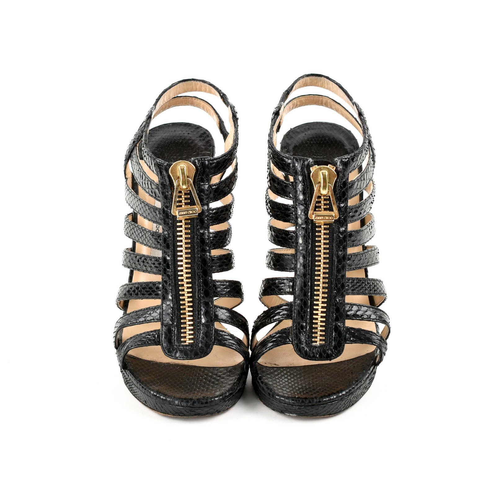 388d4b4b9c7c9 ... Jimmy Choo Glenys Snakeskin Sandals Black - Thumbnail 0 .