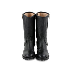 Zip Detail Leather Boots