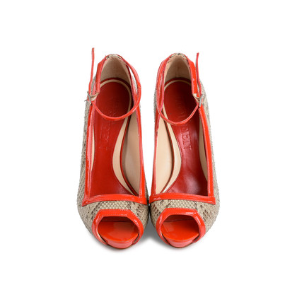 Authentic Second Hand Alexander McQueen Red Snake Skin Patent Pumps (PSS-080-00263)