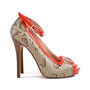 Authentic Second Hand Alexander McQueen Red Snake Skin Patent Pumps (PSS-080-00263) - Thumbnail 1