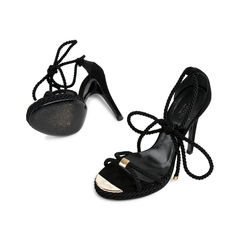 Gucci black silk rope tie sandals 2?1523866309