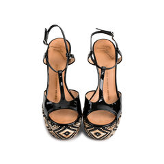 Tribal Black Patent Sandals
