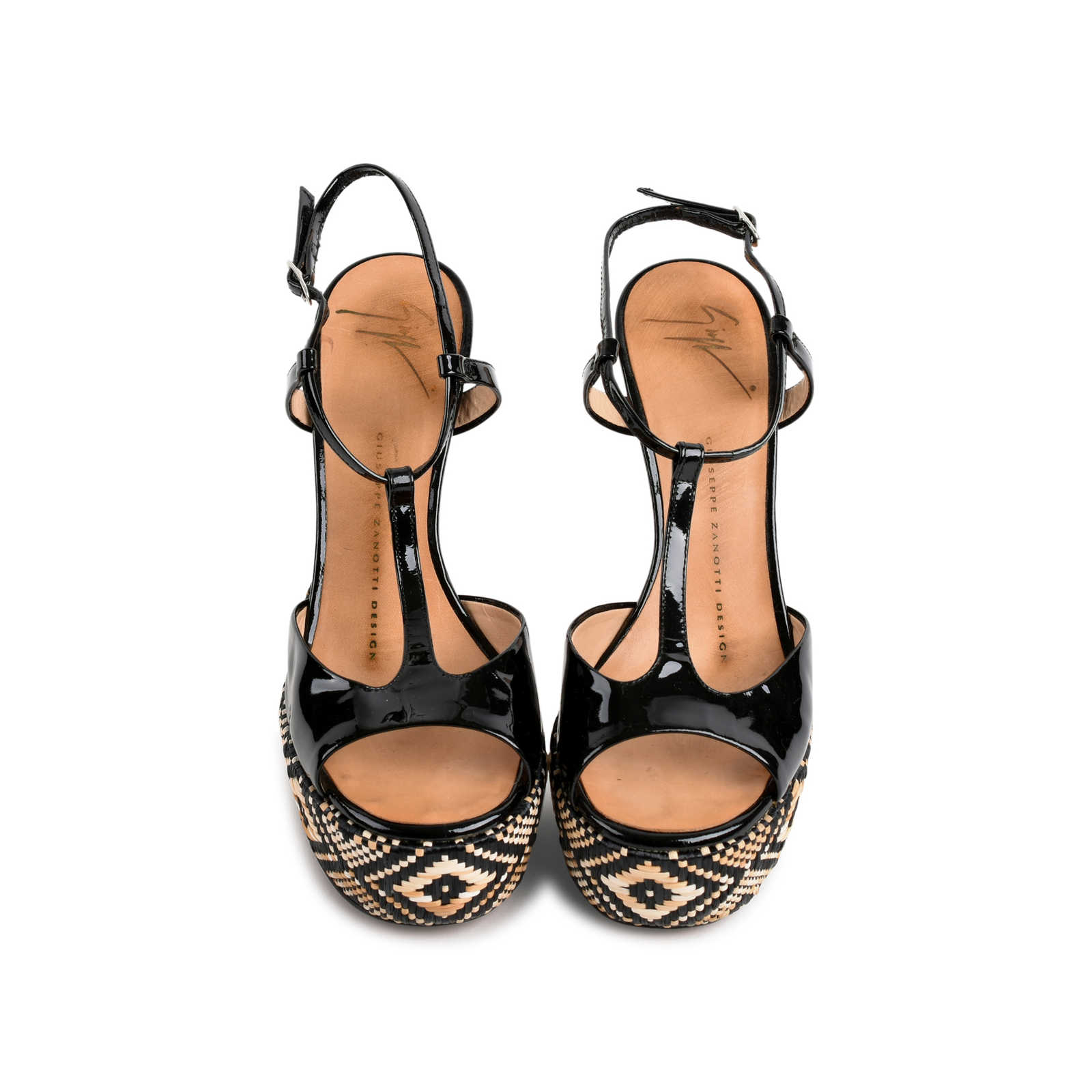7563913e5e4a Authentic Second Hand Giuseppe Zanotti Tribal Black Patent Sandals (PSS-080-00266)  ...