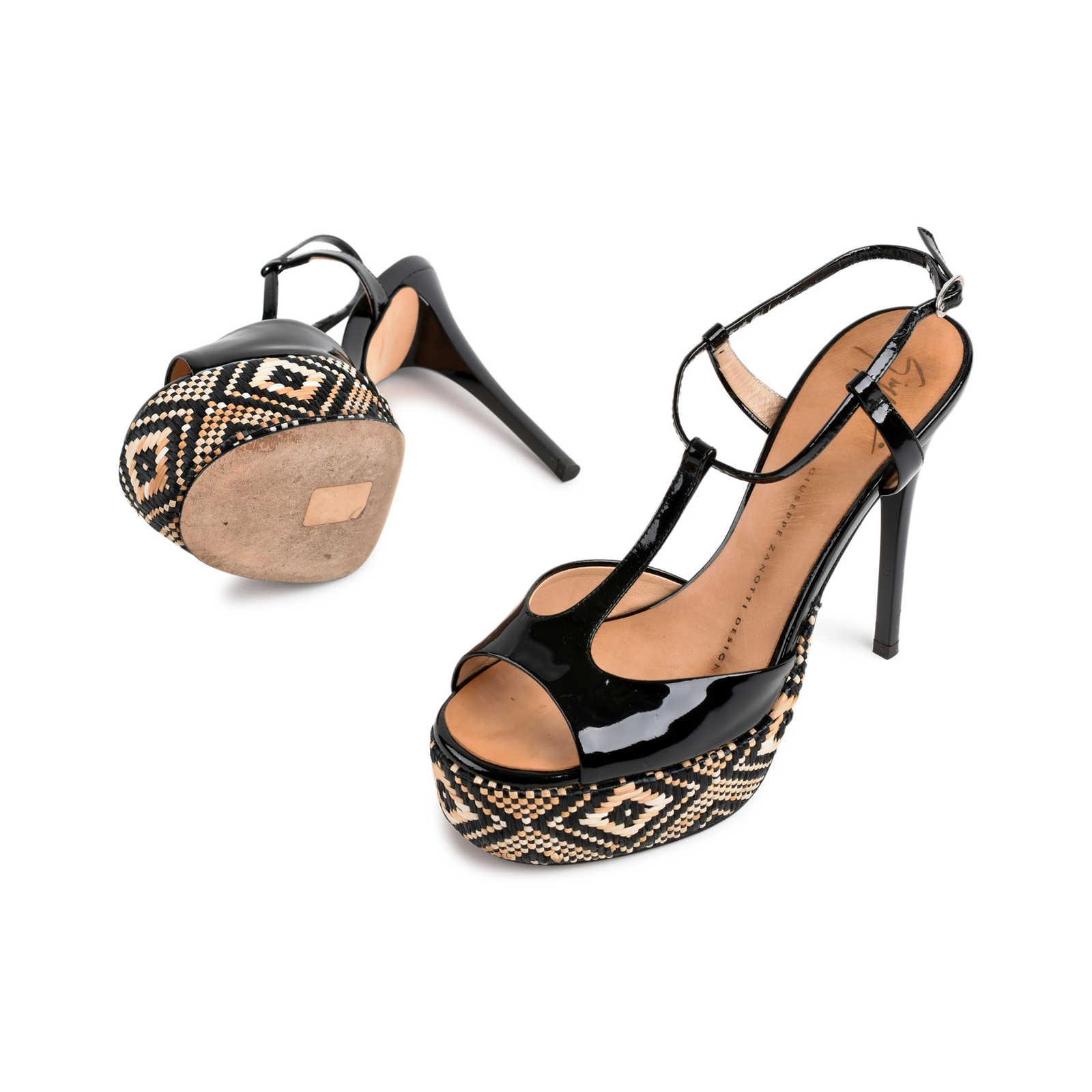 cea63f424b2e ... Authentic Second Hand Giuseppe Zanotti Tribal Black Patent Sandals (PSS- 080-00266) ...