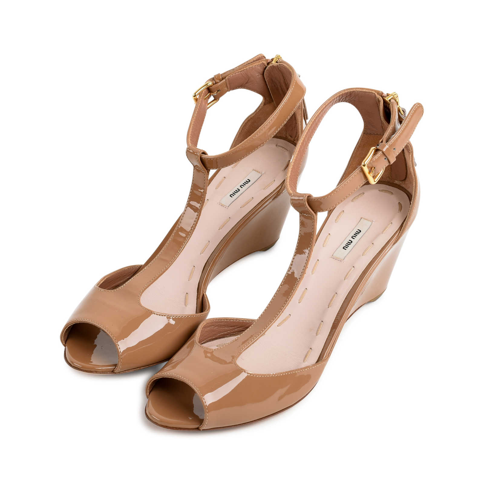 95888d907be ... Authentic Second Hand Miu Miu Patent T-Strap Wedges (PSS-080-00276 ...