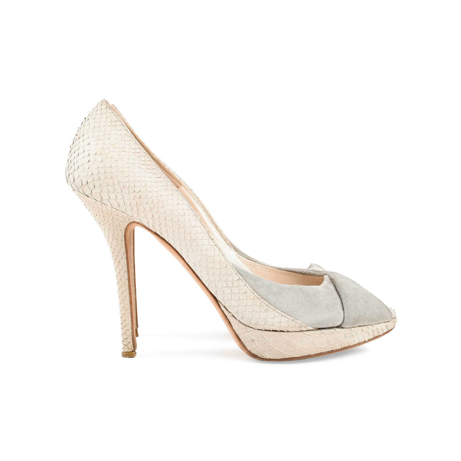 Christian Dior Embossed Peep-Toe Pumps