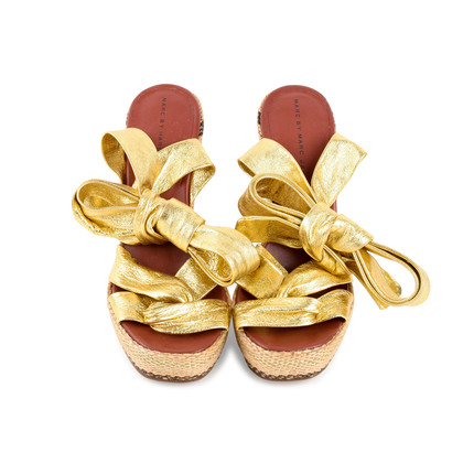 Authentic Second Hand Marc by Marc Jacobs Gold Multi Espadrille Wedges (PSS-433-00004)