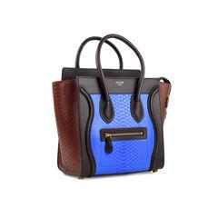 Celine python micro luggage tote blue 2?1524285795