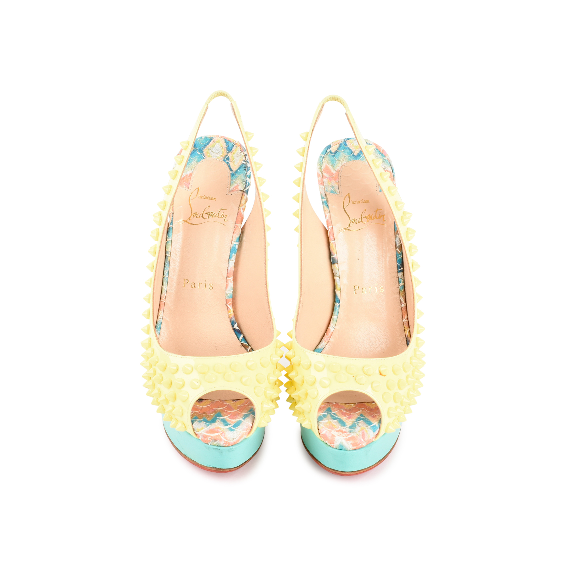 3a9ecca15f91 Authentic Second Hand Christian Louboutin Lady Peep Sling Spike Heels  (PSS-197-00069)