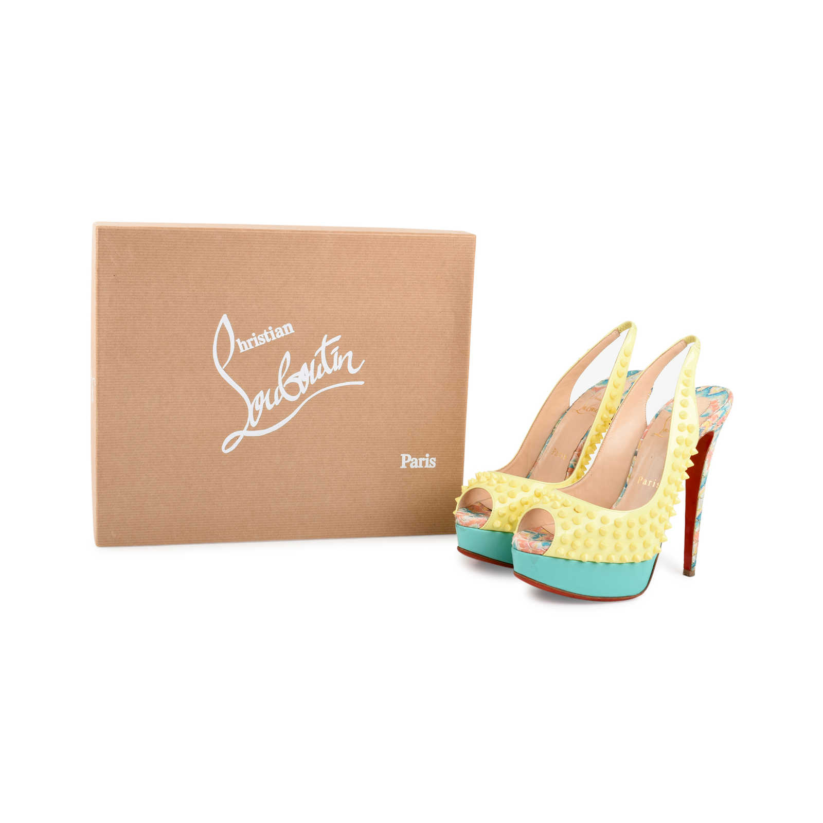 Authentic Second Hand Christian Louboutin Lady Peep Sling Spike