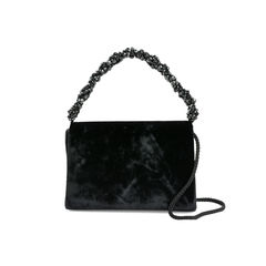 Sueded Beaded Handle Crossbody Bag