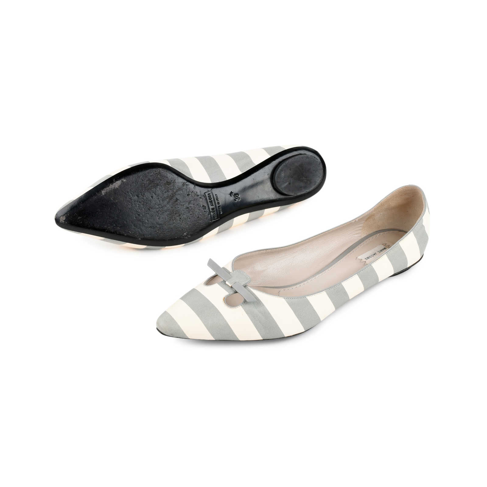 Authentic Second Hand Marc Jacobs Striped Pointy Ballerinas