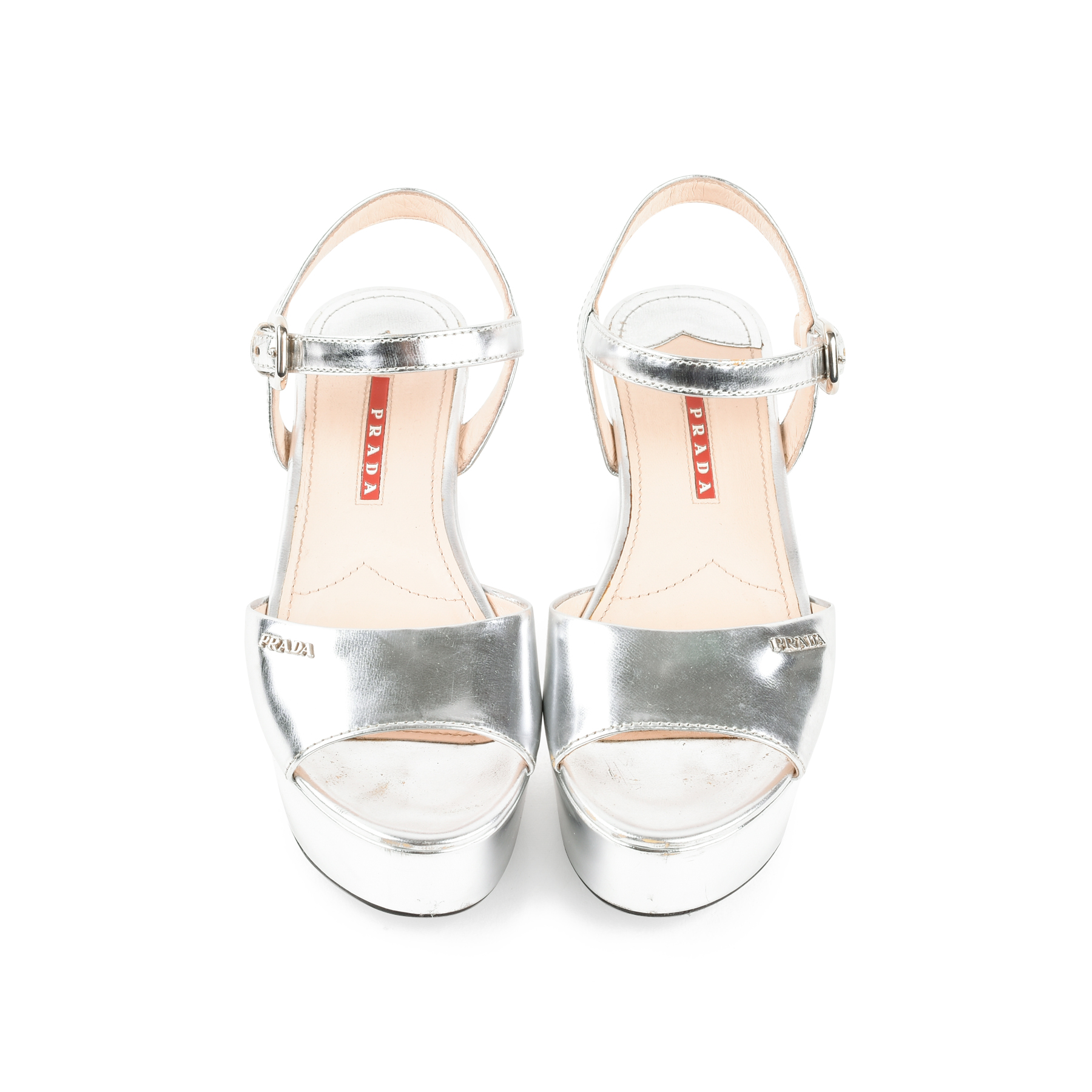 90169af20dfe Authentic Second Hand Prada Metallic Platform Wedge Sandals (PSS-291-00012)