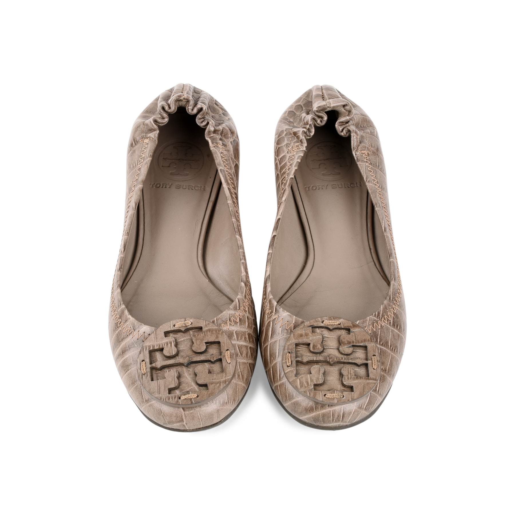 6efa8d091614 Authentic Second Hand Tory Burch Crocodile Embossed reva Flats  (PSS-225-00024)