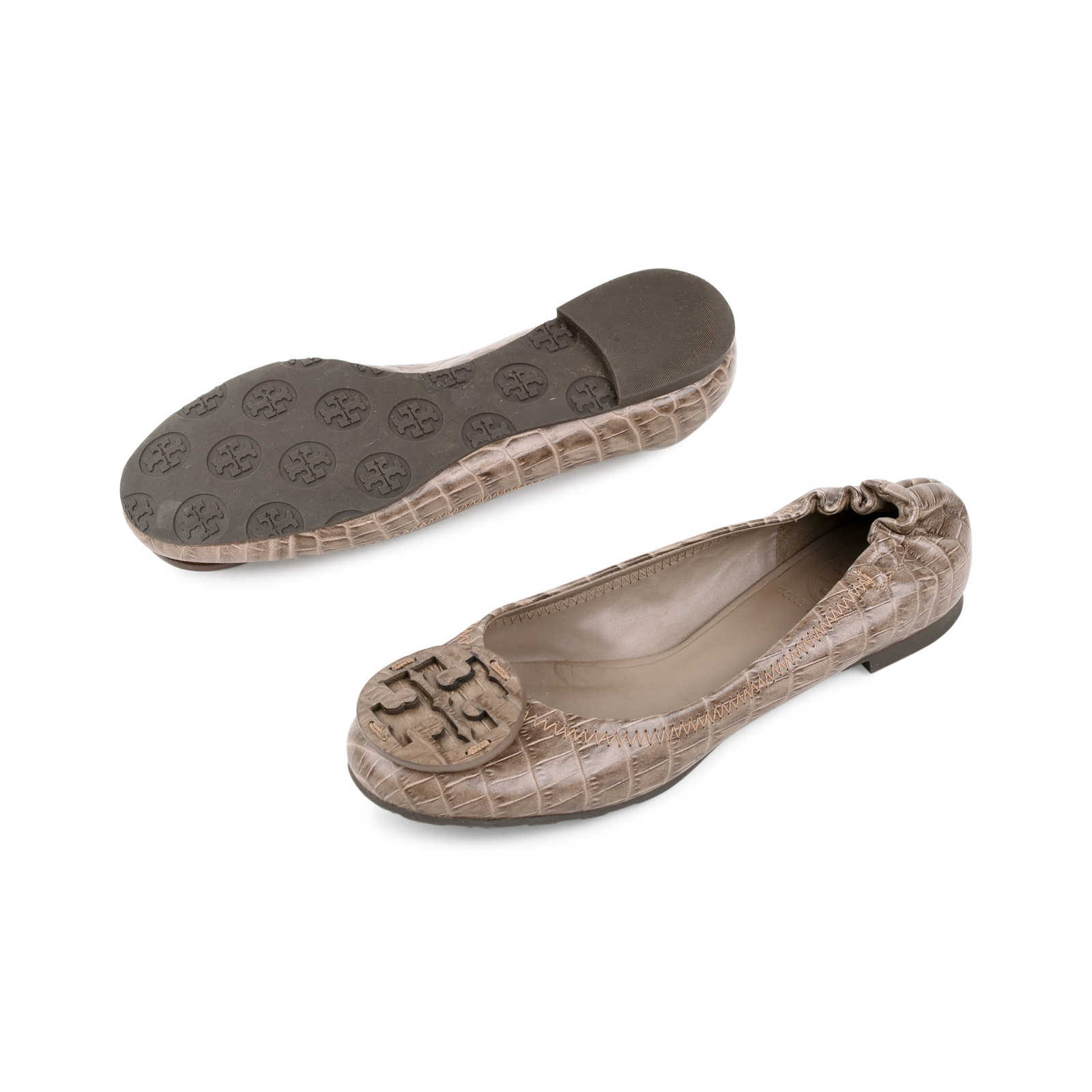 06b13e013d ... Authentic Second Hand Tory Burch Crocodile Embossed reva Flats  (PSS-225-00024) ...