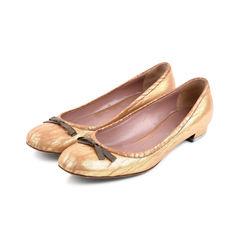 Miu miu bow ballet flats metallic 2?1525675441