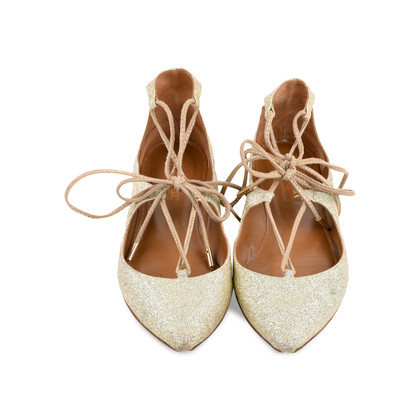 Authentic Second Hand Aquazzura Christy Lace-up Sparkle Flats (PSS-466-00018)