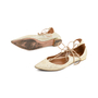 Authentic Second Hand Aquazzura Christy Lace-up Sparkle Flats (PSS-466-00018) - Thumbnail 1