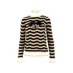 Fur Embellished Wool Blend Sweater