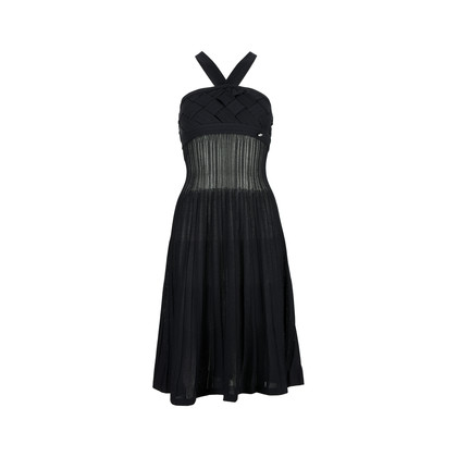 Authentic Second Hand Chanel Criss-Cross Woven Dress (PSS-200-00678)