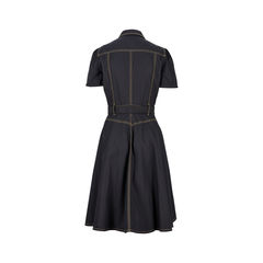 7e8d9b24687 Contrast Stitch Shirt Dress Gucci gold top stitch detail dress 2 1526964298