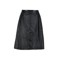 Gathered Leather Skirt