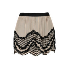 Beaded Silk Chiffon Mini Skirt