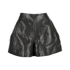 Zip Pocket Leather Shorts