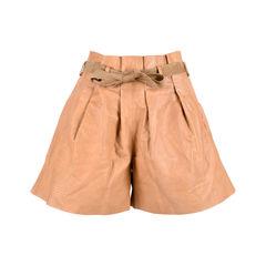 Tie Waist Leather Shorts