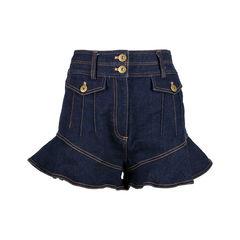 Flounce Cotton Denim Shorts