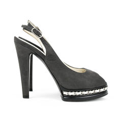 Chanel chain peep toe slingback pumps 2?1527490426