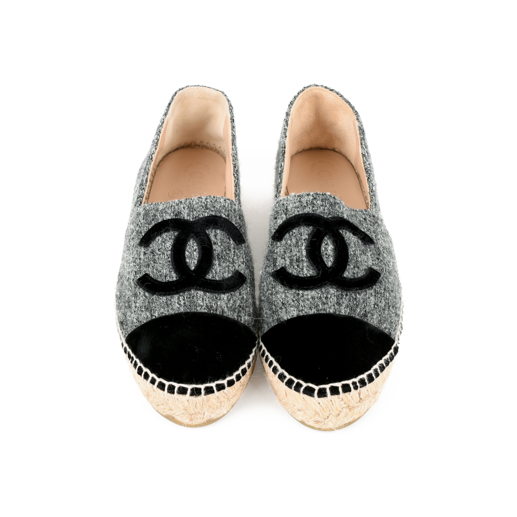 ee27ea934bca Authentic Second Hand Chanel Tweed and Velvet Espadrilles (PSS-200-01279)