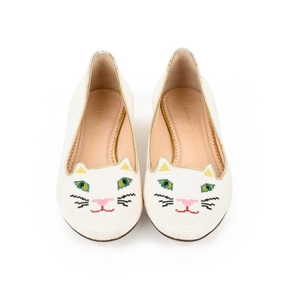 Authentic Second Hand Charlotte Olympia Embroidered Cotton Kitty Flats (PSS-200-01294)