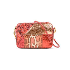 Patchwork Faux Python Crossbody Bag