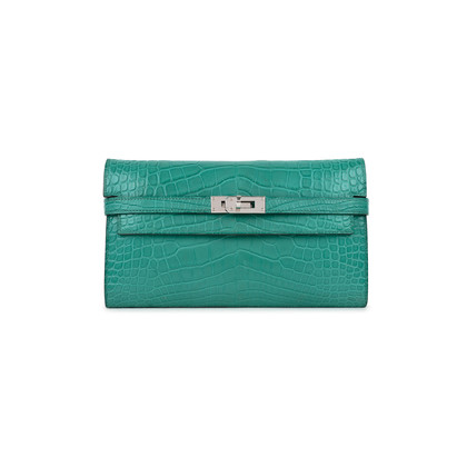 Authentic Second Hand Hermès Alligator Kelly Long Wallet (PSS-473-00066)