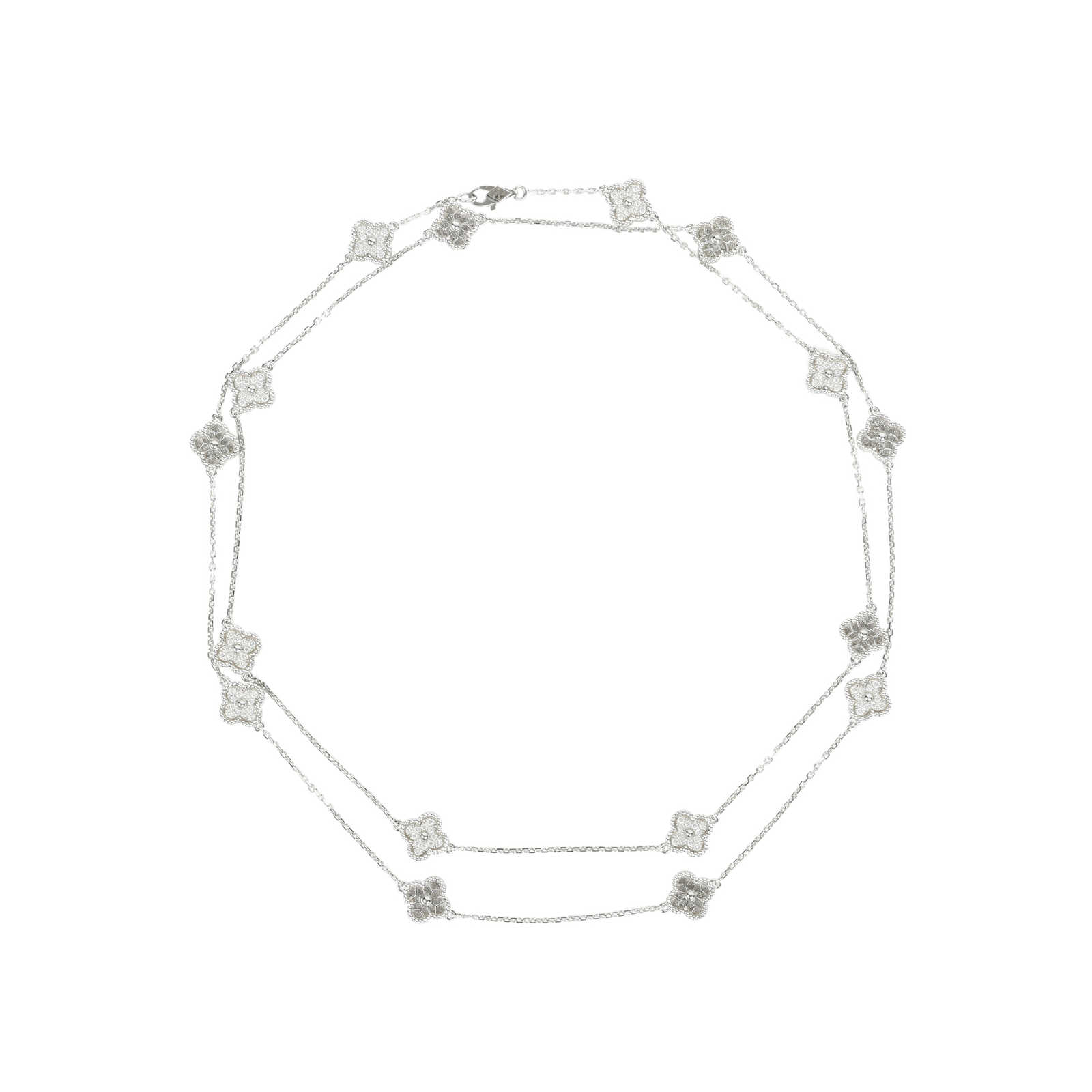 1ee577085e924 Authentic Second Hand Van Cleef and Arpels Diamond Sweet Alhambra Necklace ( PSS-473- ...