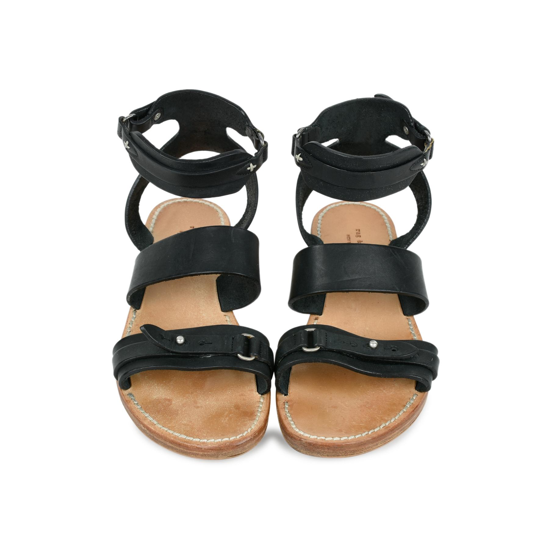 72e96690e9b Leather Flat Sandals