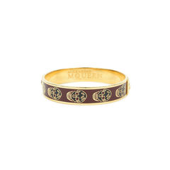 Gold Enamel Skull Bangle