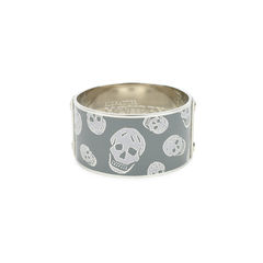 Silver Enamel Skull Large Bangle