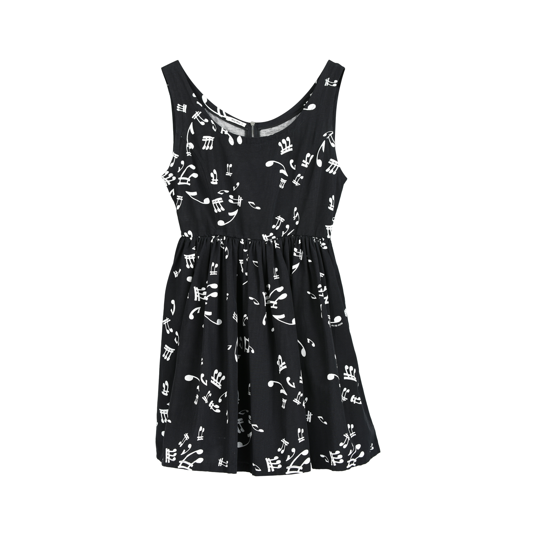3a9feeccbc604 Authentic Second Hand Miu Miu Silk Faille Music Notes Dress (PSS-235-00136)